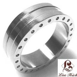 Stainless Steel CZ Wedding Ring
