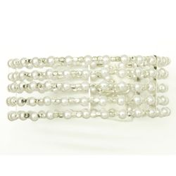 Vintage Pearl 5 Row Bangle Bracelet