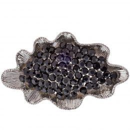 Black Rhinestone Shell Brooch