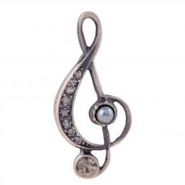 Costume Jewelry Rhinestone Pearl Accented Music Note Lapel Pin