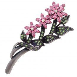 Antic-Silver Swarovski Rhinestone Pink Flower Brooch