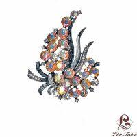 Edwardian Vintage Inspired Rhinestone Flower Brooch