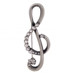 Antique Silver Rhinestone Music Note Brooch