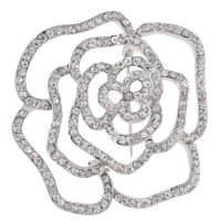 Swarovski Diamond Accented Bridal Flower Brooch