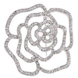 Swarovski Diamond Accented Bridal Flower Brooch