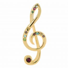 Swarovski Crystal Accented Gold Music Note Lapel Pin