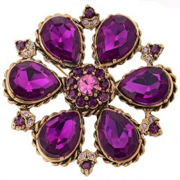 Georgian Inspired Rhinestone Amethyst Flower Brooch