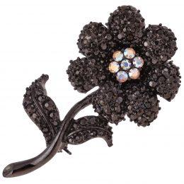 Victorian Inspired Vintage Rhinestone Flower Brooch