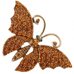 Swarovski Topaz Encrusted Gold Butterfly Brooch Pin