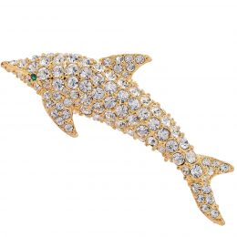 Austrian Crystal Rhinestone Gold-tone Dolphin Miami Brooch