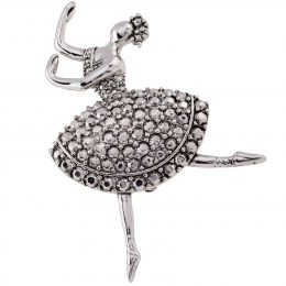 Dancing Ballerina Themed Silver Brooch