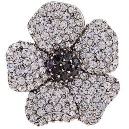 Art Nouveau Rhinestone Diamond Silver Brooch