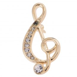 Diamond Rhinestone Accented Gold Music Note Lapel Pin