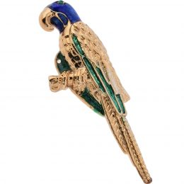 Enamel Gold Parrot Lapel Pin