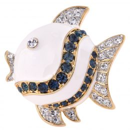White Color Enamel Angelfish Pin Brooch