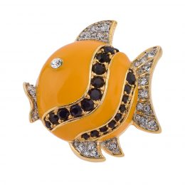 Rhinestone Accented Enamel Angelfish Brooch