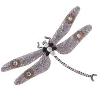 30s Parisian Inspired Whimsical CZ Diamond Encrusted Dragonfly Brooch
