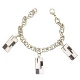 Challenging Checkered Design Charm Bracelet