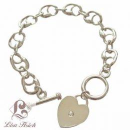 Rhinestone Heart Charm Bracelet
