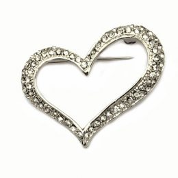 Bridal Jewelry Rhinestone Open Heart Brooch