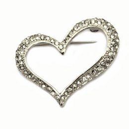 Bridal Jewelry Rhinestone Open Heart Brooch