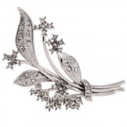Silver Edwardian Rhinestone Flower Brooch