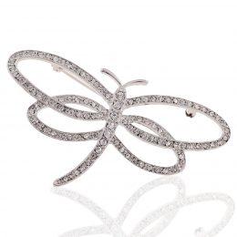 Art Nouveau Dragonfly Rhinestone Brooch