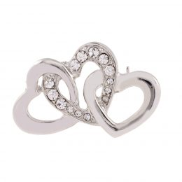 Rhinestone Accented Triple Heart Brooch