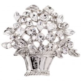 Edwardian Silver Rhinestone Floral Brooch