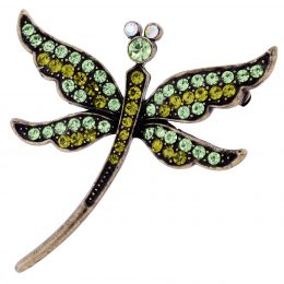 Art Nouveau Inspired Dragonfly Rhinestone Brooch