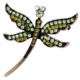 Art Nouveau Inspired Dragonfly Rhinestone Brooch