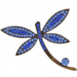 Art Nouveau Inspired Rhinestone Dragonfly Pin Brooch