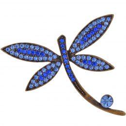 Art Nouveau Inspired Rhinestone Dragonfly Pin Brooch