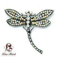 Art Nouveau Inspired Rhinestone Dragonfly Brooch