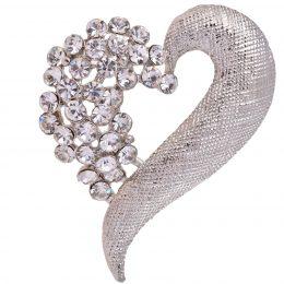 Mid-Century Rhinestone Heart Silver Brooch