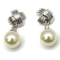 Retro Dangling Pearl Love Knot Earrings