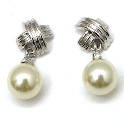 Retro Dangling Pearl Love Knot Earrings