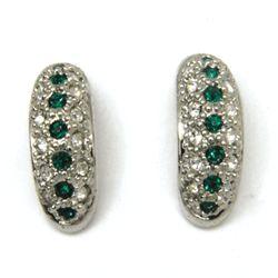 Mid Century Rhinestone J Stud Earrings