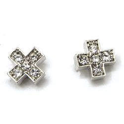 Cross CZ Stud Earrings