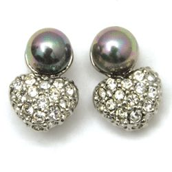 Mid Century CZ Pearl Stud Earrings