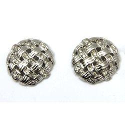 CZ Diamond Accent Mesh Round Stud Earrings