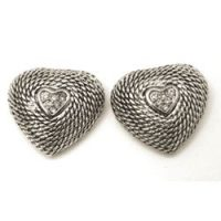 Rhinestone Brilliant Accent Heart Stud Earrings