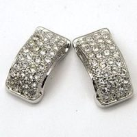 Mid-Century CZ Diamond J Stud Earrings