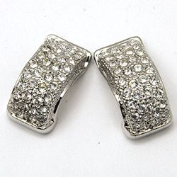 Mid-Century CZ Diamond J Stud Earrings