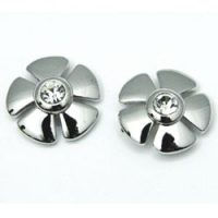 Mid-Century Rhinestone Flower Stud Earrings