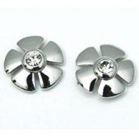 Mid-Century Rhinestone Flower Stud Earrings