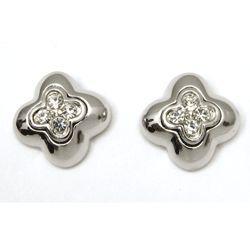 Retro Rhinestone Four Leaf Stud Earrings