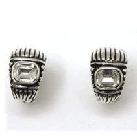 Antique Silver Crystal Accent Half Hoop Earrings