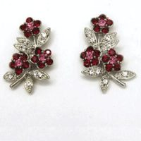 Victorian Rhinestone Multi-color Floral Stud Earrings