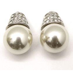 Mid-Century Rhinestone Accent Pearl Earrings